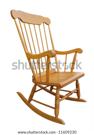 Old wooden rocking chair isolated with clipping path - stock photo