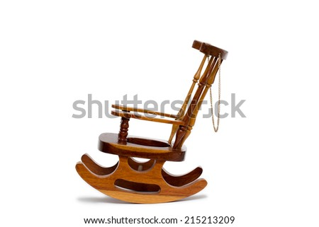 old wooden rocking chair on white background - stock photo