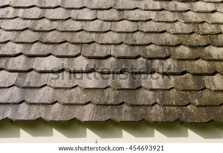 Old wooden roof . - stock photo