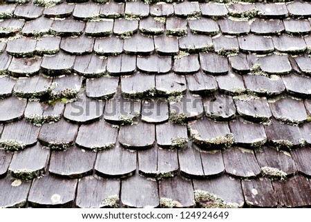 old wooden roof in Thailand - stock photo