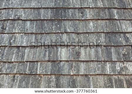Old Wooden Roof shingle use for background and texture
