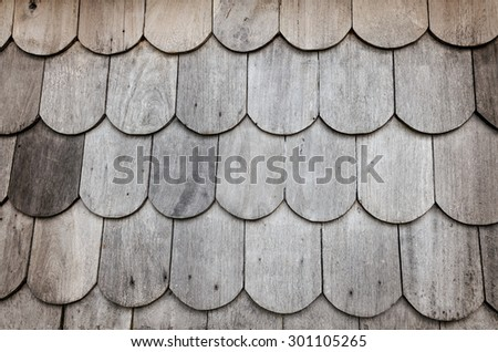 old wooden roof shingles - stock photo