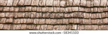 Old Wooden Roof Tiles - stock photo