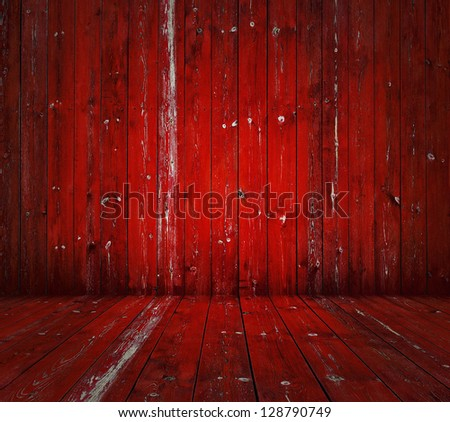 old wooden room, red background - stock photo