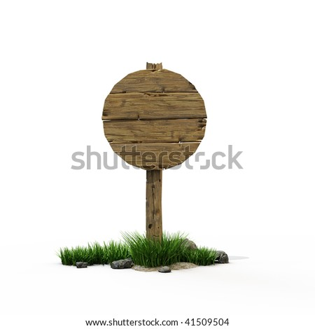 old wooden round road sign - stock photo