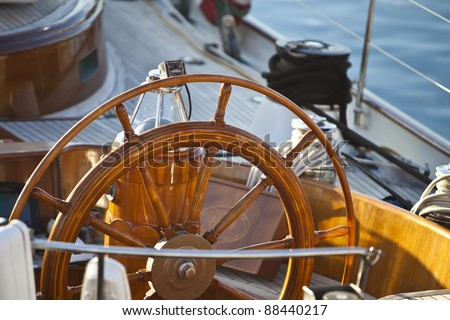 old wooden rudder in a sailboat details - stock photo
