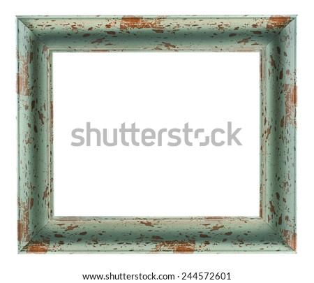 Old wooden rustic picture frame - stock photo