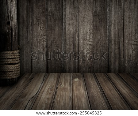 Old wooden scene as pirates theme background - stock photo