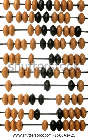 Old wooden scores on a white background - stock photo