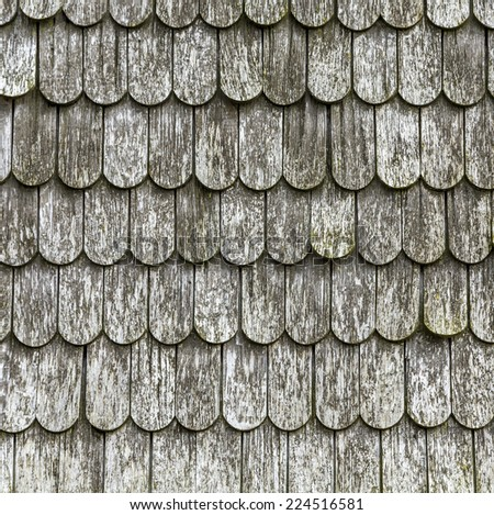 old wooden shingles on the roof  at Dutch windmill in Benz - stock photo