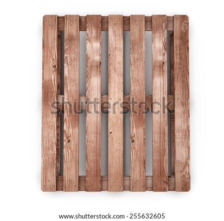 Old wooden shipping pallet front view isolated on white background. 3d render image. - stock photo