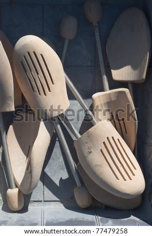Old Wooden Shoe Stretchers found at a Flea Market - stock photo