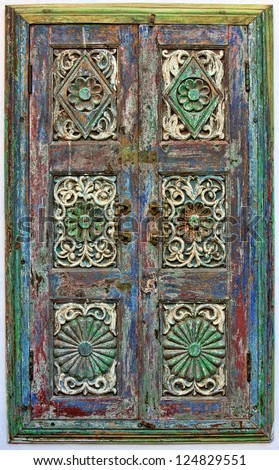 Old wooden shutters. Rajasthan,India, Asia - stock photo