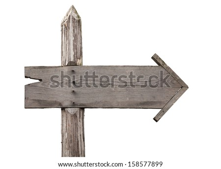Old wooden sign isolated on a white background - stock photo