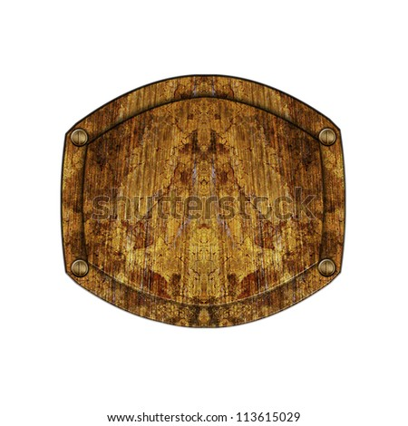 Old wooden sign isolated on white - stock photo
