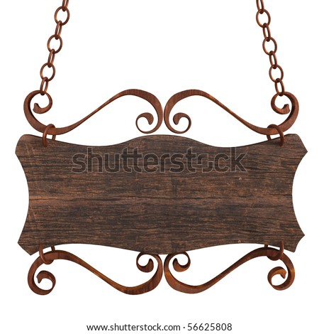 Old wooden sign on the chains. Isolated on white