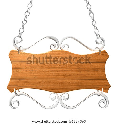 Old wooden sign on the chains. Isolated on white, with clipping path. - stock photo
