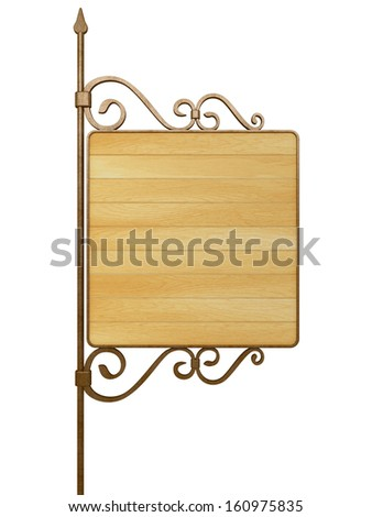Old wooden signboard. Isolated on white - stock photo