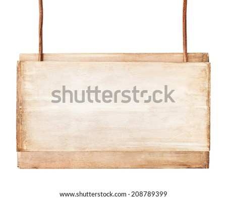 Old wooden signboard on white background. - stock photo