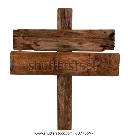 Old wooden signpost - stock photo