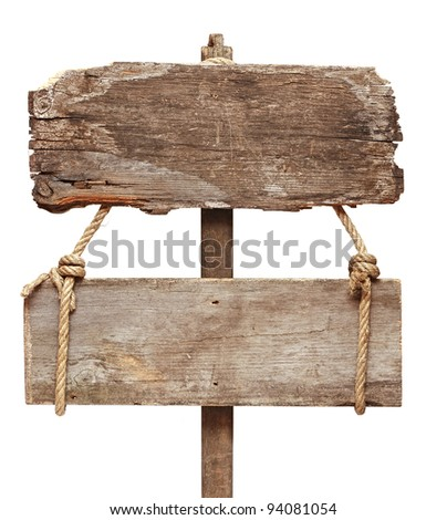 Old wooden signpost isolated on a white background