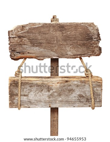 Old wooden signpost isolated on a white background - stock photo