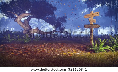 Old wooden signpost near the trail in a scary autumn forest at dusk. Realistic 3D illustration was done from my own 3D rendering file. - stock photo