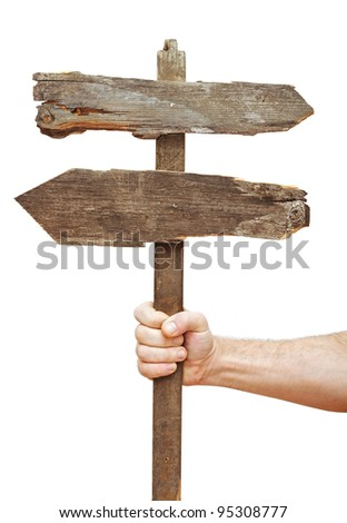 Old wooden signpost on hand isolate on white - stock photo