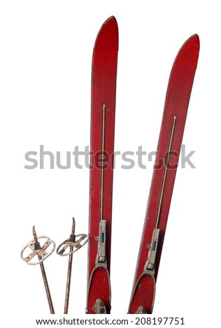 Old wooden skis isolated on white - stock photo