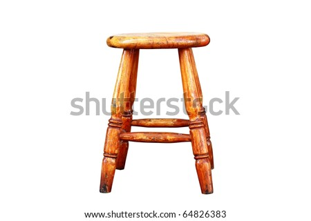 Old Wooden Stool Isolated - stock photo