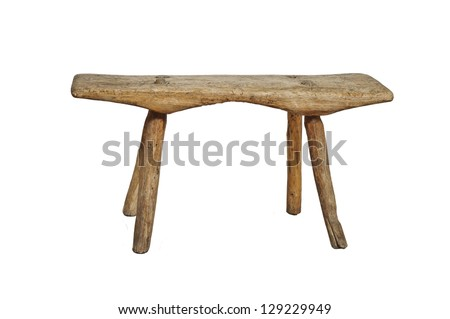 Old wooden stool, isolated on white background - stock photo