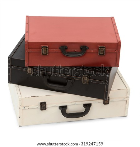 Old wooden suitcases on a white background - stock photo