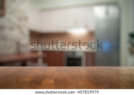 old wooden table in the kitchen - stock photo