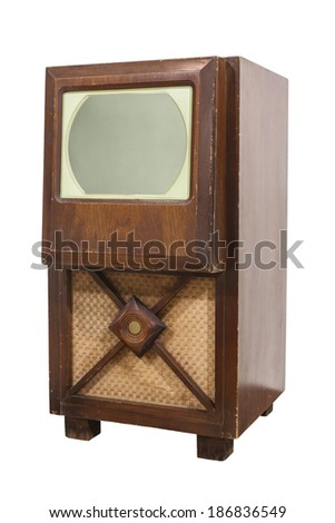 Old wooden television isolated with clipping path. - stock photo