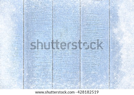 Old wooden texture background with snow effect - stock photo