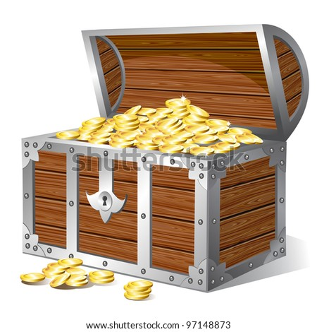Old wooden treasure chest. Raster version of the vector illustration - stock photo