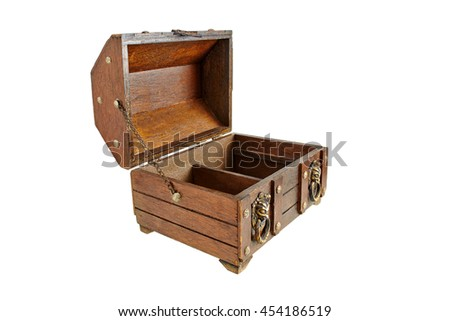 old wooden trunk open lid side view force perspective