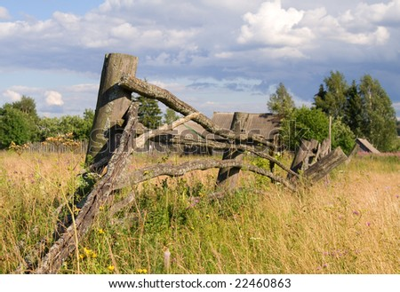 Old wooden village fence. Summer season
