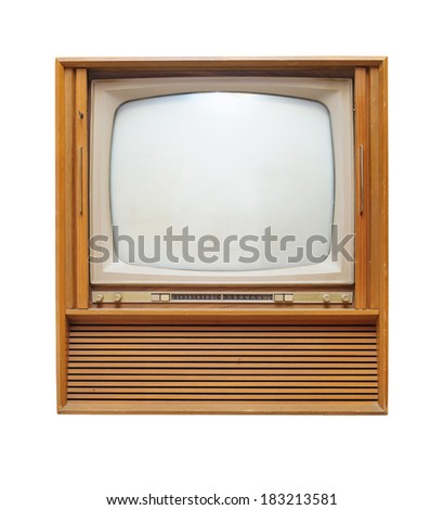 old wooden vintage television isolate on white background - stock photo