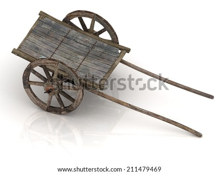 Old wooden wagon cart with wooden wheels isolated on white background ...