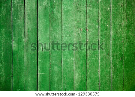 old wooden wall, green background - stock photo