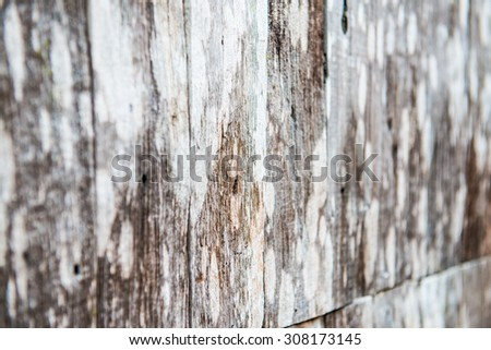 Old wooden wall in Thai country, Thailand.