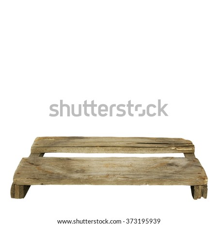 old wooden warehouse pallet isolated on white background, design element - stock photo