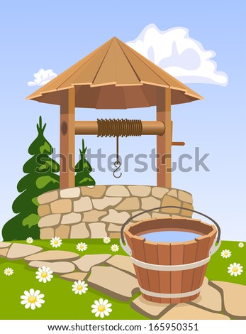 Old wooden well and bucket of water - stock photo