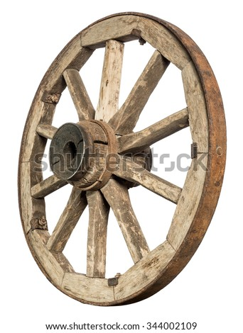old wooden wheel - stock photo