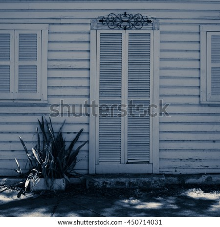 old wooden white door and windows on a white wooden wall with a small plan growing close to it. Miami. Bahia Honda Park. Florida. USA. - stock photo