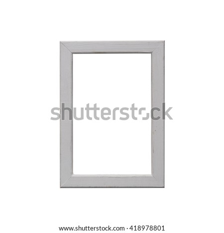 Old wooden white frame isolated on white background.