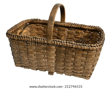 Old wooden wicker basket isolated on white.