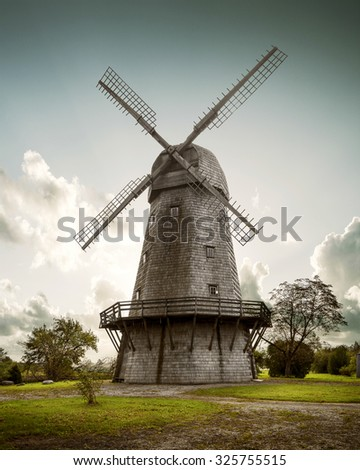 Old wooden windmill at dawn, The Netherlands - stock photo
