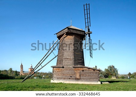 Old wooden windmill in Suzdal town, Russia. Golden Ring of Russia - stock photo